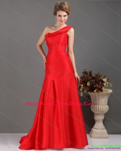 2015 One Shoulder Pleated Red Homecoming Dresses with Brush Train