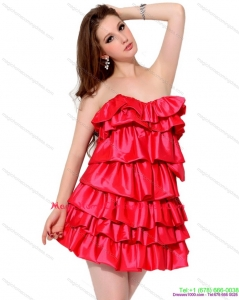 2015 Red Mini Length Homecoming Dresses with Ruffled Layers