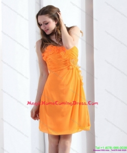 2015 Strapless Orange Homecoming Dress with Hand Made Flowers and Ruching
