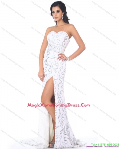 2015 Sweetheart Printed White Homecoming Dress