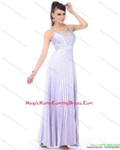 Cute 2015 Empire V Neck Homecoming Dress with Pleats and Beading