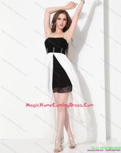 Juniors High Low Beading 2015 Homecoming Dresses in Black and White