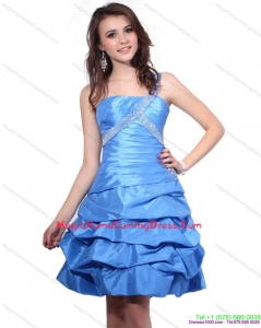Juniors One Shoulder Baby Blue Homecoming Dresses with Pick Ups and Beading