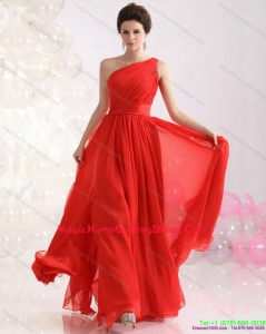 Juniors Ruching Red One Shoulder Homecoming Dresses for 2015