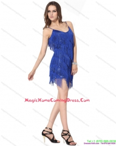 Juniors Spaghetti Straps Short Homecoming Dresses with Sequins and Macrame