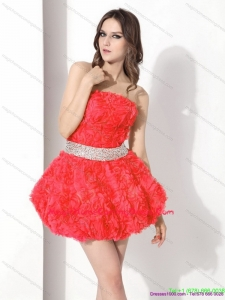 Juniors Strapless Short Homecoming Dresses with Rolling Flowers and Beading