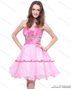 Rose Pink 2015 Mini Length Homecoming Dresses with Beading and Ruching