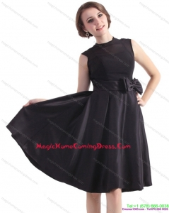2015 Black Knee Length Homecoming Dress with Bowknot