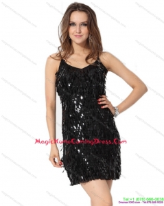 2015 Black Spaghetti Straps Homecoming Dress with Sequins