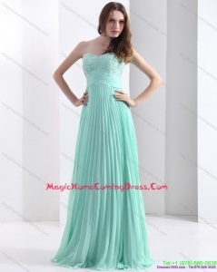 2015 Brush Train Apple Green Homecoming Dress with Beading and Pleats