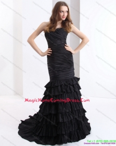 2015 Brush Train Pleated Black Homecoming Dresses