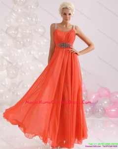 2015 Empire Orange Homecoming Dress with Beading and Ruching
