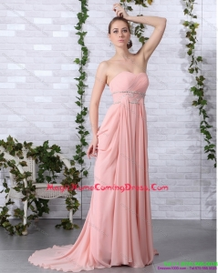 2015 Juniors Brush Train Sweetheart Homecoming Dress in Peach