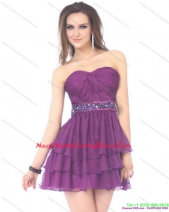 2015 Juniors Sweetheart Mini Length Homecoming Dress with Sequins and Ruching