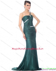 2015 One Shoulde Homecoming Dress with Ruching and Brush Train