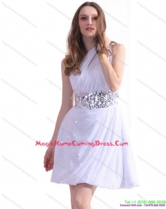 2015 One Shoulder White Homecoming Dress with Ruching and Sequins