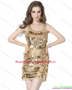 2015 Scoop Mini Length Homecoming Dress with Sequins
