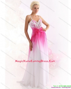 2015 Spaghetti Straps Brush Train Homecoming Dress with Paillettes
