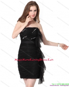 2015 Strapless Ruching Mini Length Homecoming Dress in Black