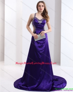 Juniors 2015 Halter Top Purple Criss Cross Homecoming Dresses with Court Train