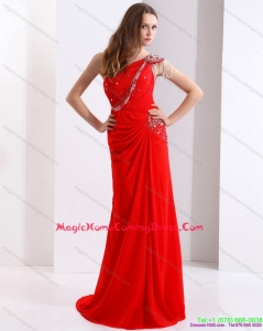 Juniors 2015 One Shoulder Red Homecoming Dress with Beadings and Brush Train