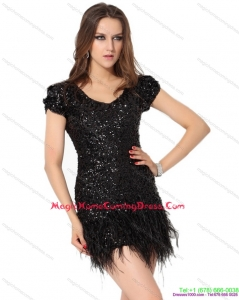 Juniors Black Mini Length Homecoming Dress with Sequins and Macrame