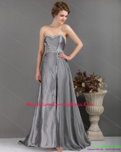 Juniors Brush Train Sliver Homecoming Dresses with Appliques and High Slip