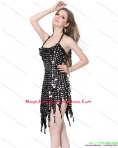 Juniors Halter Top Black 2015 Homecoming Dress with Sequins