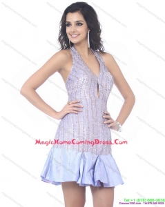 Juniors Sequined Halter Top Mini Length Homecoming Dress for 2015