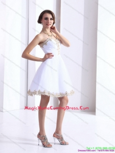 Juniors White Sweetheart Beaing Homecoming Gown with Appliques