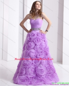 Juniors Lilac Sweetheart Homecoming Dresses with Rolling Flowers and Sequins