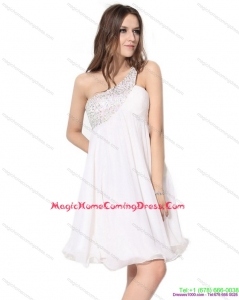 Juniors One Shoulder Beading Homecoming Dress in White