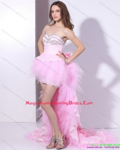 Baby Pink Ruffled One Shoulder Homecoming Dresses On Sale with Hand Made Flower and Beading