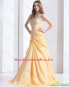 Brush Train Gold Homecoming Dresses On Sale with Ruching and Beading