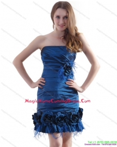 Ruching Strapless Homecoming Dresses On Sale with Hand Made Flowers