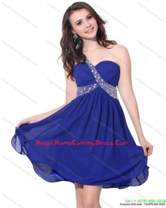 2015 One Shoulder Beading Homecoming Dresses On Sale with Criss Cross