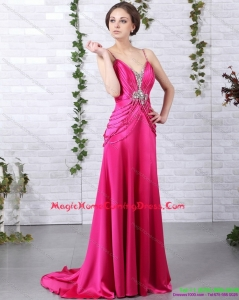 Brush Train 2015 Homecoming Dresses On Sale with Ruching and Beading