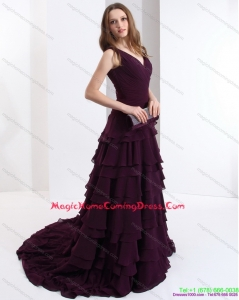 V Neck Homecoming Dresses On Sale in Dark Purple for 2015