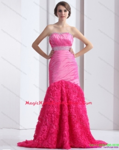 2015 Juniors Strapless Homecoming Dress with Ruching and Beading