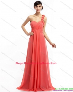Juniors Watermelon Red One Shoulder Homecoming Dresses with Brush Train and Hand Made Flowers
