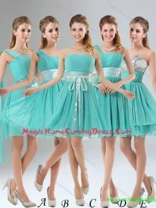 2015 Summer A Line Ruching Lace Up New Arrival Homecoming Dresses in Aqua Blue