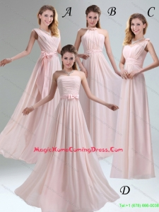 2015 Summer Beautiful Chiffon Light Pink Empire Homecoming Dresses with Ruching