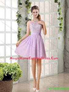 2015 Summer Perfect Homecoming Dresses Ruching with Hand Made Flower in Lilac