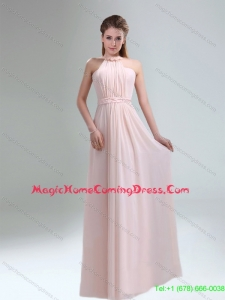 New Arrival 2015 High Neck Chiffon Light Pink Homecoming Dresses