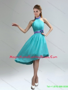 New Style 2015 Summer High Neck Asymmetrical Multi Color Homecoming Dresses