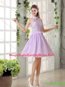 Pretty High Neck Lilac A Line Lace Homecoming Dresses Chiffon for 2015