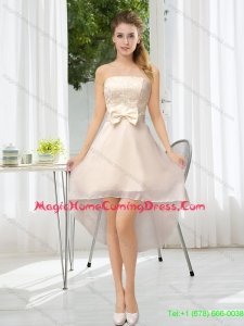 2015 Luxurious Strapless A Line Homecoming Dress with Belt and Lace