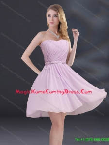 2015 New Arrival A Line Sweetheart Homecoming Dresses with Ruhing and Belt