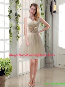 Beautiful Champagne Bowknot Princess Homecoming Dresses with V Neck