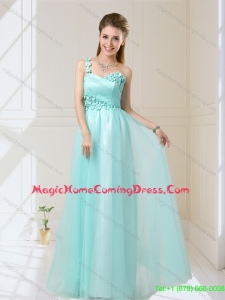 New Arrival 2015 Summer One Shoulder Floor Length Homecoming Dresses with Appliques
